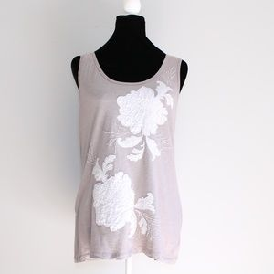 INC Taupe Floral and Beaded Applique Tank Top XL